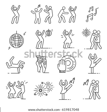 Set of dancing Related Vector Line Icons. Includes such Icons as disco, dance, ballet, music, breakdancing, fireworks, slow dance, discolor