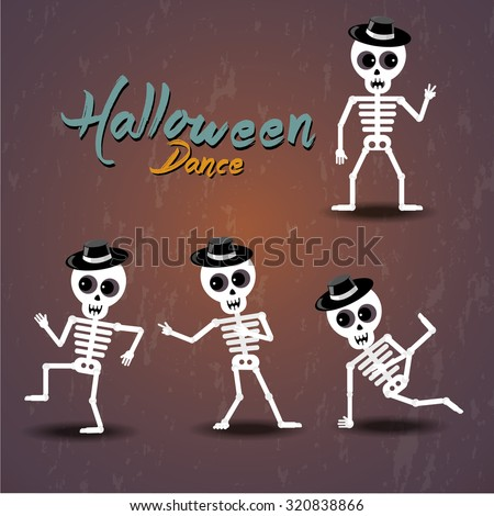 set of dancing skeleton