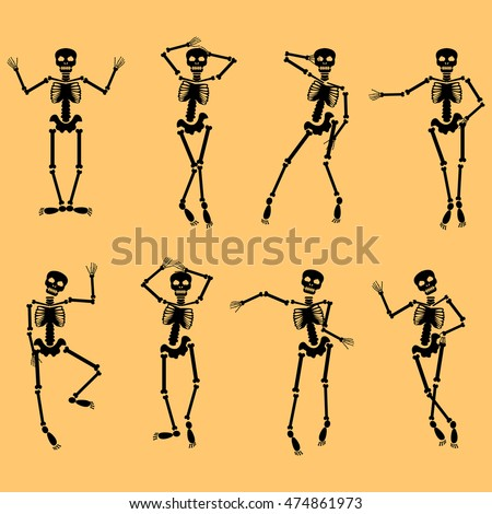 set of dancing skeletons