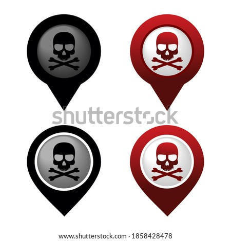 Set of danger area pinpoint sign. Skull, crossbones. Red and black pin map. Dangerous location. Illustration vector