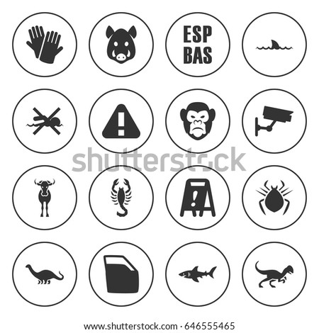 set of 16 danger filled icons
