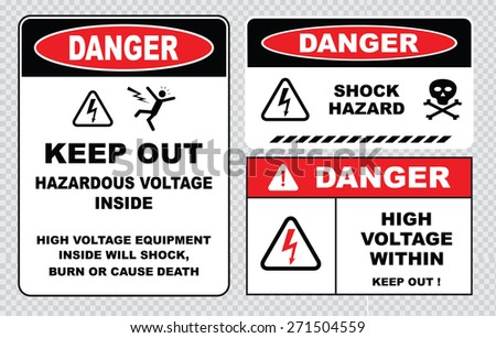set of danger high voltage