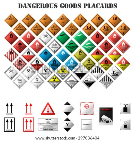 set of dangerous goods placards