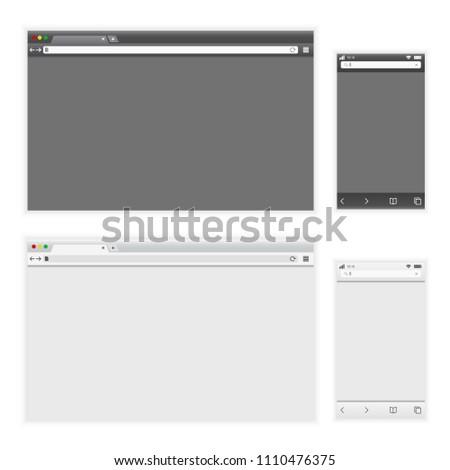 Set of dark and light browser interface on laptop and phone. Vector illustration. #1110476375