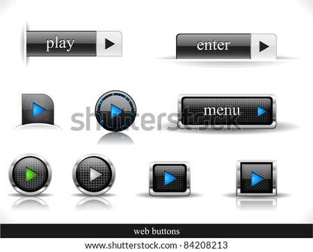 Set of dark buttons. Vector eps10  illustration.