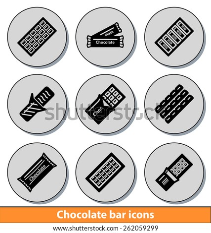 set of dark chocolate bar icons