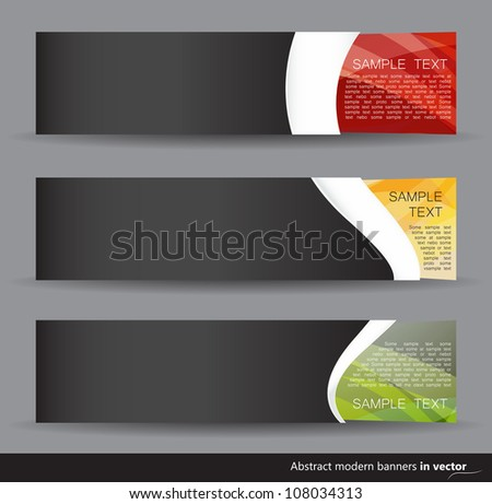 Set of dark colorful horizontal banners isolated on a grey background
