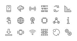 Set of Data Analysis Related Technology Vector Line Icons. Contains such Icons as Charts, Wi-fi, Graphs, Traffic Analysis, Big Data and more. Editable Stroke. 32x32 Pixel Perfect