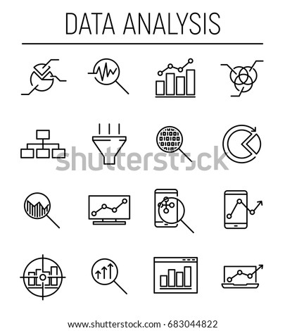 Set of 16 data analysis thin line icons. High quality pictograms of data analysis. Modern line art style icons collection. Charts, Graphs, Traffic Analysis, Big Data and more.