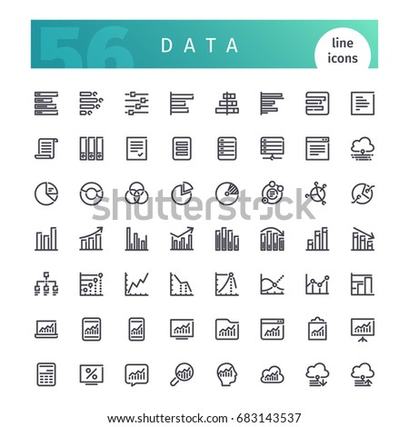 Set of 56 data analytics line icons suitable for web, infographics and apps. Isolated on white background. Clipping paths included.