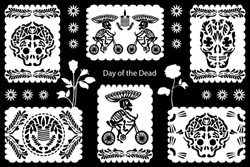 Set of Day of the Dead illustrations. Paper cut flags with festive design elements. Skulls, sceletons and floral ornaments inspired by Mexican art.