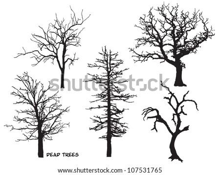 set of dead trees silhouette