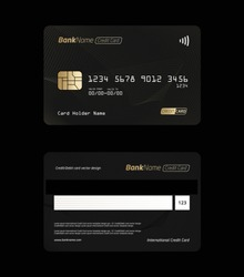 Set of Debit card, Credit card, ATM card and Privilege card vector template design.