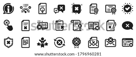 Set of Decline certificate, Cancellation and Dislike icons. Reject or cancel icons. Refuse, Reject stamp, Disapprove or cancel. Wrong agreement, delete certificate, checklist document. Vector