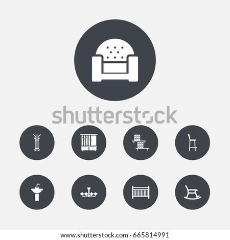 set of 9 decor icons set