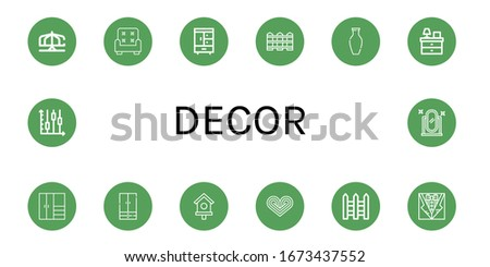 set of decor icons such as