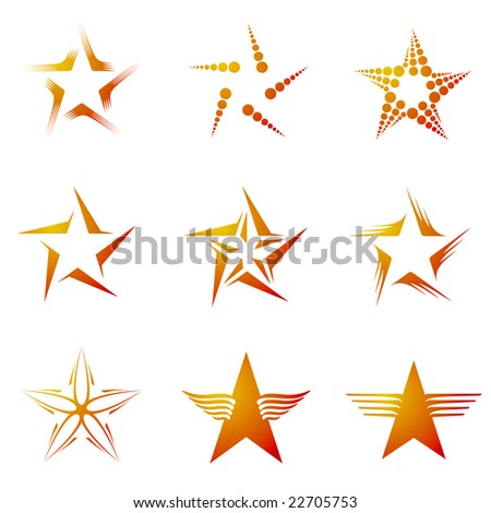 Set of decorative and creative five cornered/pentagonal stars - stock vector