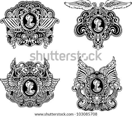 set of decorative antique