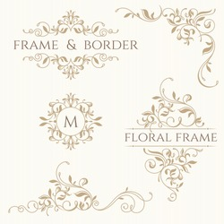 Set of decorative  borders and monograms. Template signage, labels, stickers, cards. Graphic design page. Classic design elements for wedding invitations.