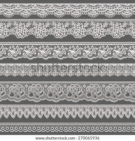 Set of decorative borders stylized like laces