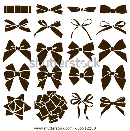 Set of decorative bow for your design. Vector black bow silhouette isolated on white