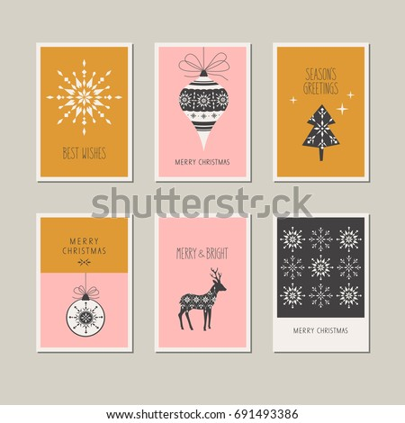 Stock Photo set of decorative christmas cards