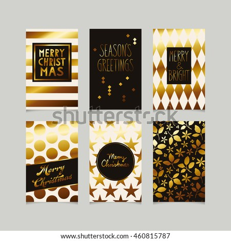 set of decorative christmas cards in gold #460815787