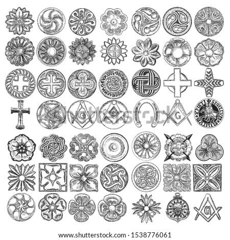 Set of decorative circle and square ornament of carved flowers. Round Christian cross, five pointed star. Square and Compass, Masonic. Nautical, marine anchor, skull. Horseshoe luck amulet. Vector.