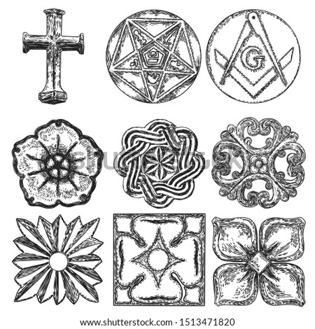 Set of decorative circle ornament of carved flowers. Round Celtic emblem. Square and Compass, Masonic symbol. Five pointed star.  Vector.