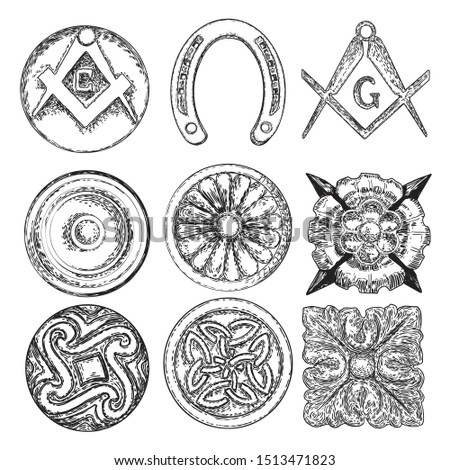 Set of decorative circle ornament of carved flowers. Round Celtic emblem. Square and Compass, Masonic symbol. Horse shoe luck amulet. Vector.