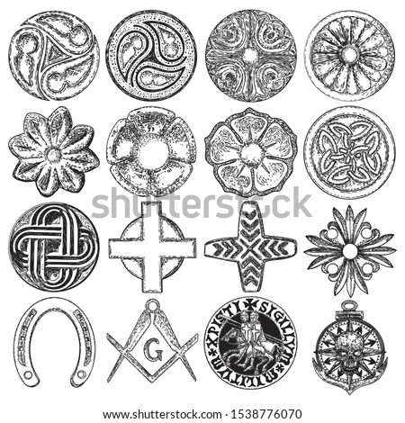 Set of decorative circle ornament of carved flowers. Round Christian cross. Square and Compass, Masonic. Nautical, marine anchor and skull. Horseshoe luck amulet. Knights Templar Crusader pin. Vector.