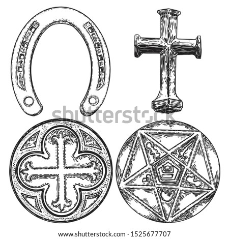 Set of decorative circle ornament of carved round Christian cross, five pointed star, Masonic. Horseshoe good luck amulet. Vector.