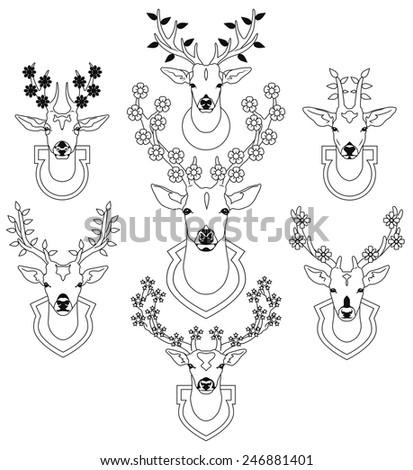 set of decorative deer heads