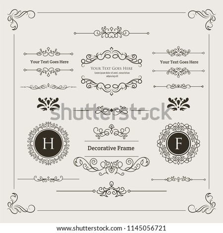 Set of Decorative Divider, Monogram, & Frame Element. For any purpose of your designs such us certificate, invitation, print designs, web designs, etc.