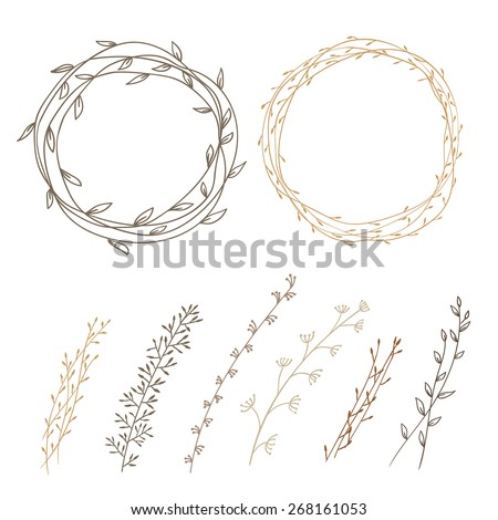 set of decorative doodle wreaths made of branches. two wreaths from plants and six different branches. background white.