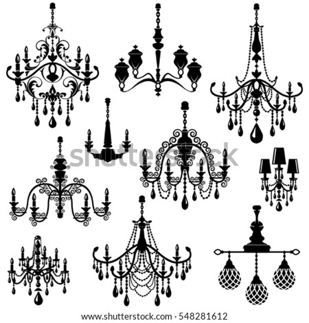 Set of Decorative elegant luxury vintage crystal chandelier icons, black silhouette luster isolated on white.