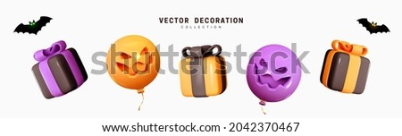 Set of decorative elements for Halloween. Emotional Smile Balloons with scary, evil on their faces. Realistic 3d design gift box. Traditional element of decor for holiday. Vector illustration