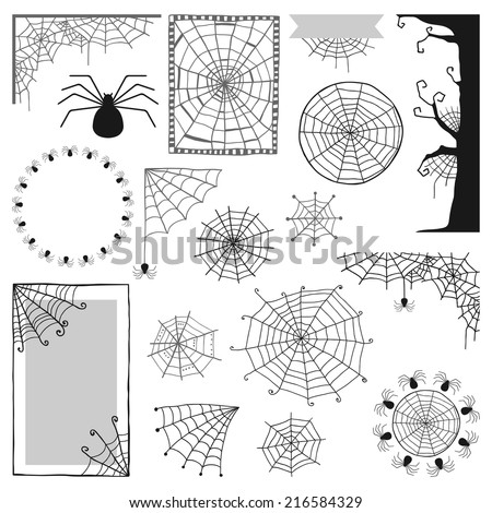 Set of decorative elements for Halloween, spiders, spider webs, frames