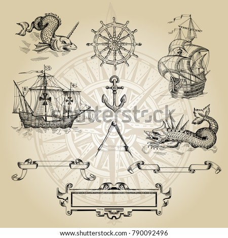 set of decorative elements for