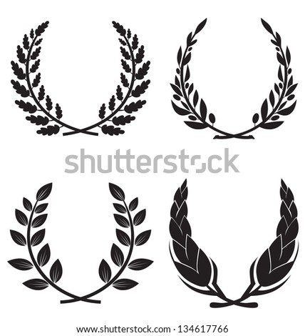 set of decorative elements of the vector wreaths