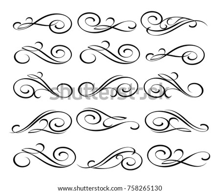 Set of decorative elements.Vector illustration. Black on white.