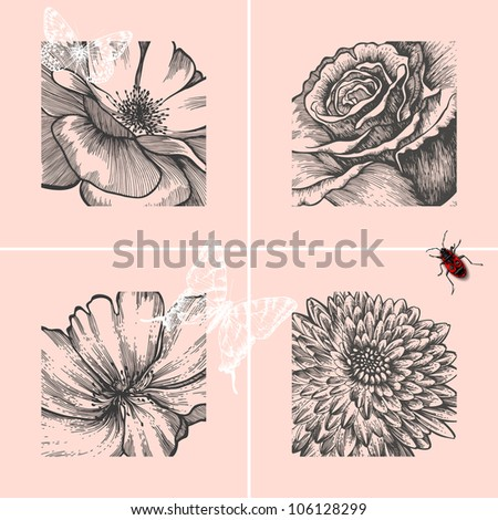 Set of decorative floral backgrounds, hand-drawing. Vector illustration.