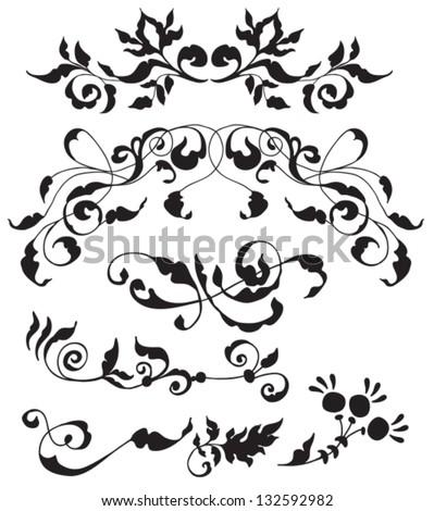 Set Of Decorative Floral Elements For Your Design Vector Ez Canvas