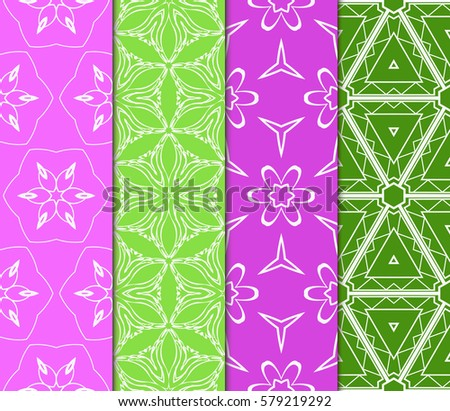 set of Decorative floral ornament. geometric seamless pattern. vector illustration. for interior design, wallpaper, invitation, fabric, decor #579219292