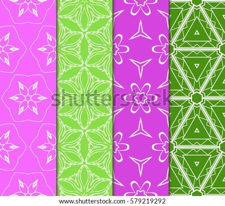 set of Decorative floral ornament. geometric seamless pattern. vector illustration. for interior design, wallpaper, invitation, fabric, decor #579219292