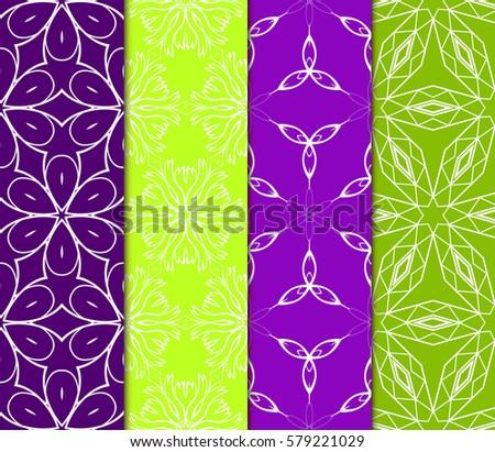 set of Decorative floral ornament. geometric seamless pattern. vector illustration. for interior design, wallpaper, invitation, fabric, decor #579221029