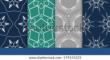 set of decorative floral seamless pattern. vector illustration. for invitation, greeting card, wallpaper, interior design #574155223