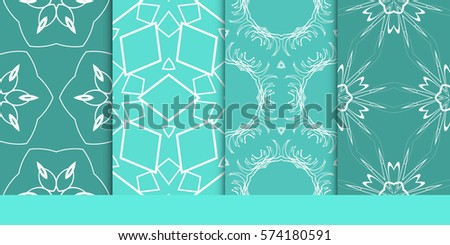 set of decorative floral seamless pattern. vector illustration. for invitation, greeting card, wallpaper, interior design #574180591