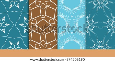 set of decorative floral seamless pattern. vector illustration. for invitation, greeting card, wallpaper, interior design #574206190