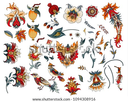 Set of decorative flowers and birds